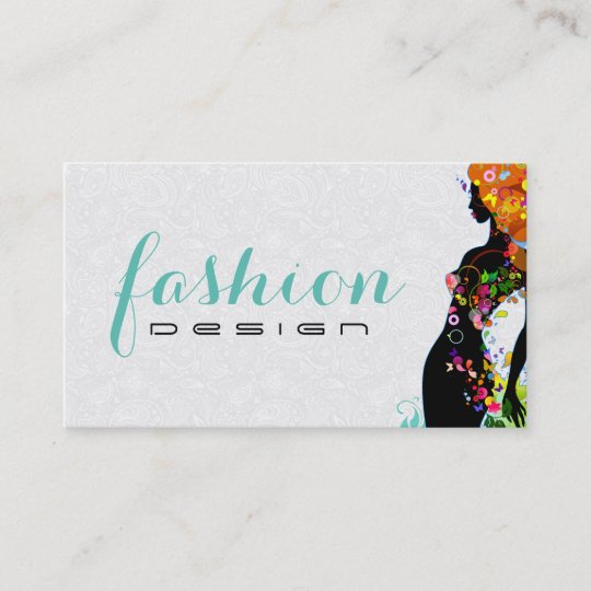 colourful flower girl fashion designer 2 business card - Fashion Designer Business Card