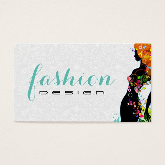 Colourful Flower Girl Fashion Designer 2 Business Card