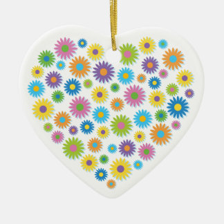 Colourful Flower Heart Ceramic Heart Decoration