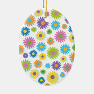 Colourful Flower Heart Christmas Ornament
