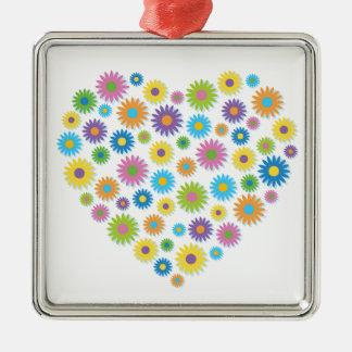 Colourful Flower Heart Christmas Ornament