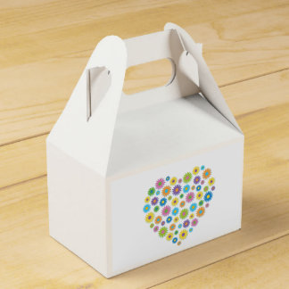 Colourful Flower Heart Gable Favour Box