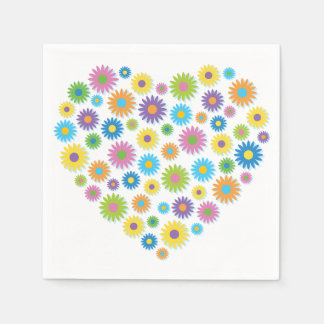 Colourful Flower Heart Paper Napkins