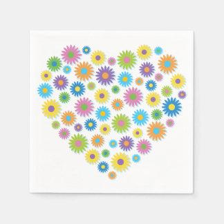 Colourful Flower Heart Paper Napkins