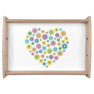Colourful Flower Heart Serving Tray