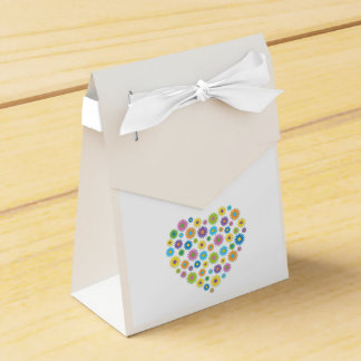 Colourful Flower Heart Tent Favour Box