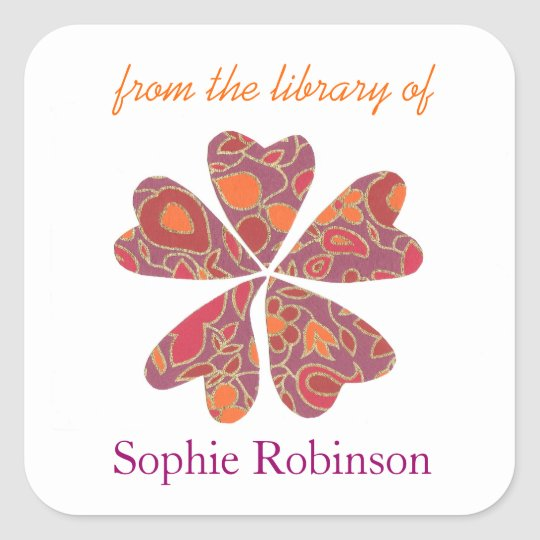 Colourful flower personalised bookplates square sticker