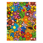 Colourful flower power postcard