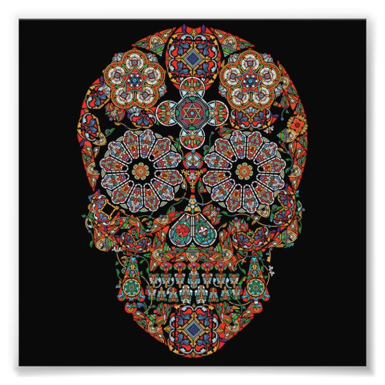 Colourful Flower Sugar Skull Photo Print
