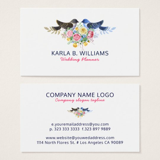 Colourful Flowers Bouquet & Love Birds Business Card