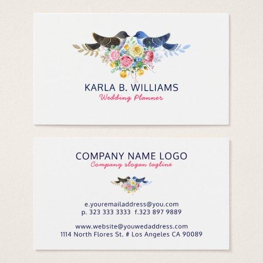 Colourful Flowers Bouquet & Love Birds Business Card