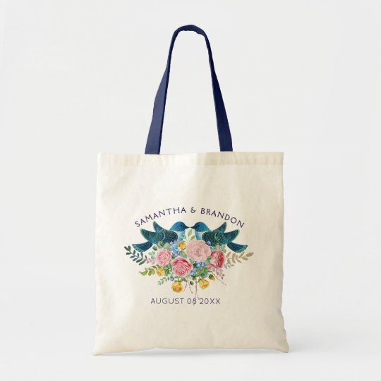 Colourful Flowers Bouquet & Love Birds Tote Bag