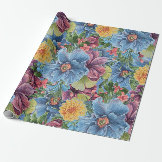 Colourful Flowers Collage Pattern Wrapping Paper