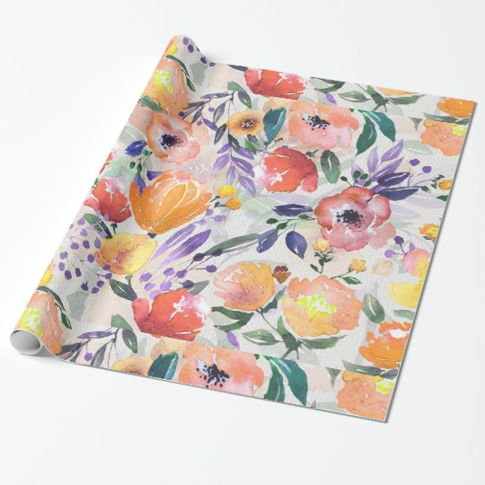 Colourful Flowers Collage Wrapping Paper