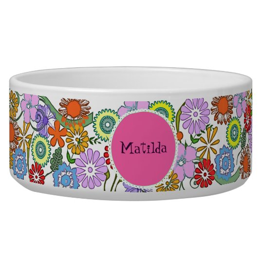 Colourful Flowers Dog Ceramic Bowl