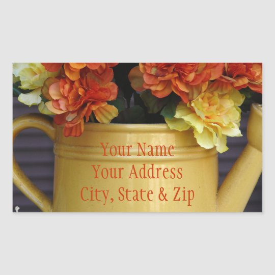 Colourful Flowers in Pot address stickers