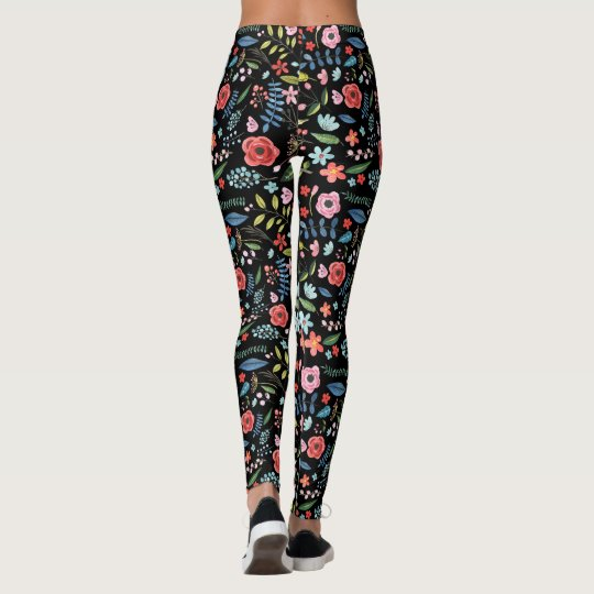 Colourful Flowers & Leafs Botanical Pattern Leggings