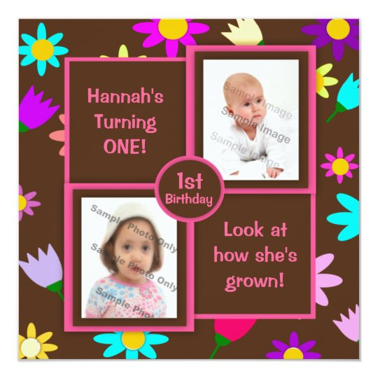Colourful Flowers on Brown Photo First Birthday Card