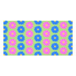 Colourful Flowers Pattern. Photo Card Template