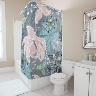 Colourful Flowers Pattern Shower Curtain