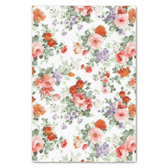 Colourful Flowers Pattern White Background Tissue Paper