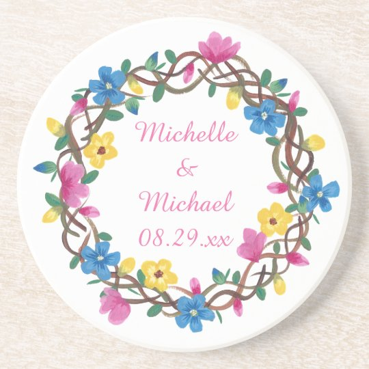 Colourful Flowers Round Personalised Coasters