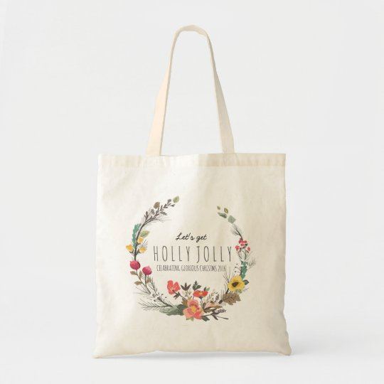Colourful Flowers Wreath Christmas Text Template Tote Bag