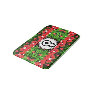 Colourful Flowery Lamp With Female Symbol Bath Mat