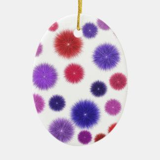 Colourful fluffy pompoms ceramic oval decoration