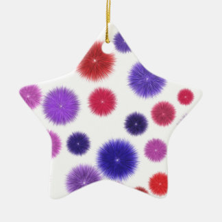 Colourful fluffy pompoms ceramic star decoration