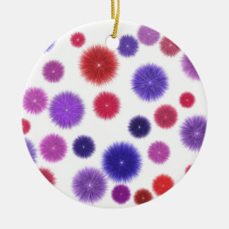 Colourful fluffy pompoms christmas ornament