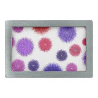 Colourful fluffy pompoms rectangular belt buckles