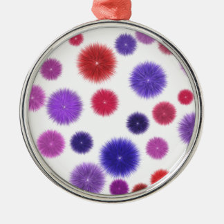 Colourful fluffy pompoms Silver-Colored round decoration