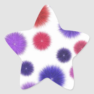 Colourful fluffy pompoms star sticker