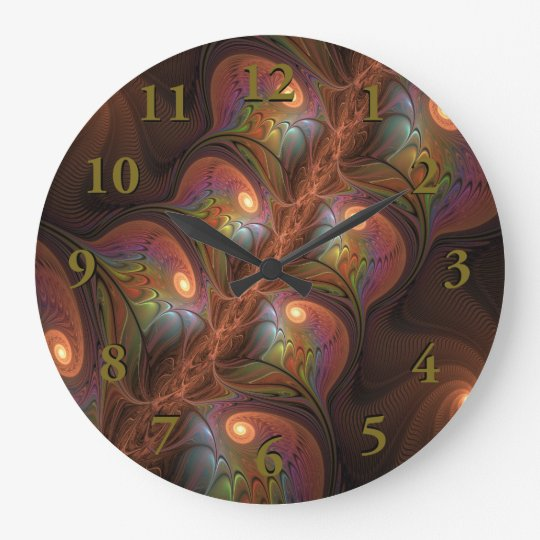 Colourful Fluorescent Abstract Modern Brown Large Clock