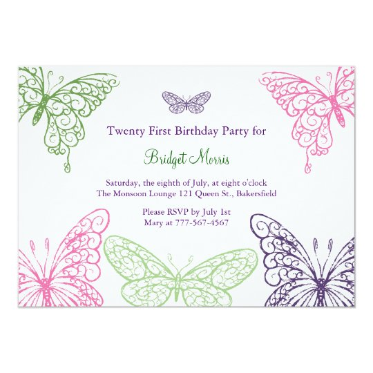 Colourful Fluttering Butterflies 21st Birthday Card