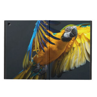Colourful flying Ara on a dark background Case For iPad Air