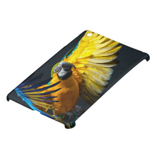 Colourful flying Ara on a dark background iPad Mini Covers