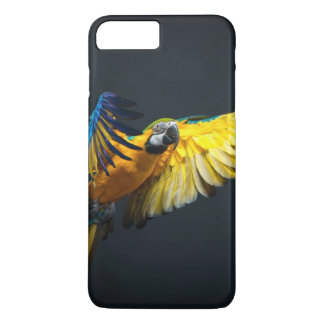 Colourful flying Ara on a dark background iPhone 7 Plus Case