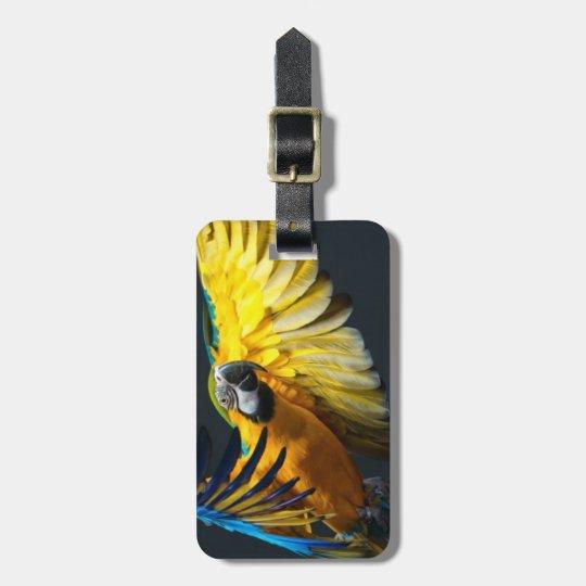 Colourful flying Ara on a dark background Luggage