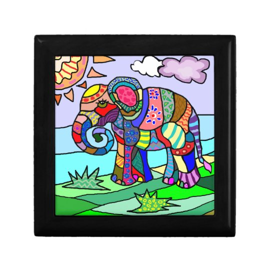 Colourful folcloristic abstract elephant painting gift box