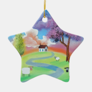 Colourful folk landscape picture of sheep christmas ornament