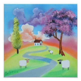 Colourful folk landscape picture of sheep poster