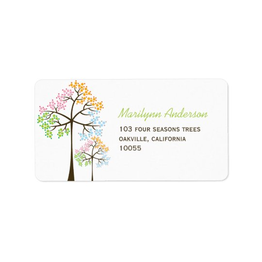 Colourful Four Seasons Trees Wedding Address Label