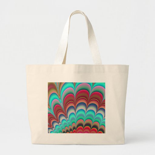 Colourful fractal abstract design tote bags