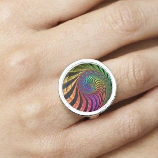 Colourful fractal silver plated ring