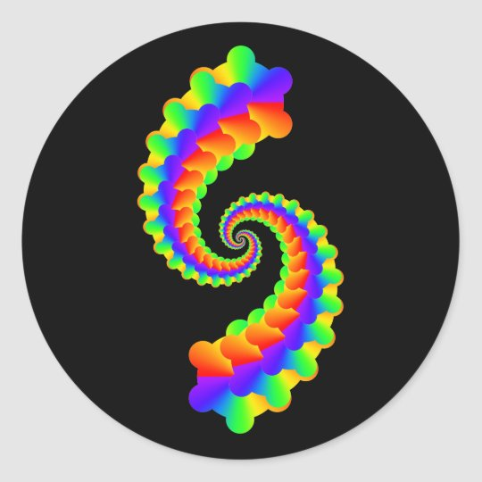 Colourful fractals simple classic round sticker