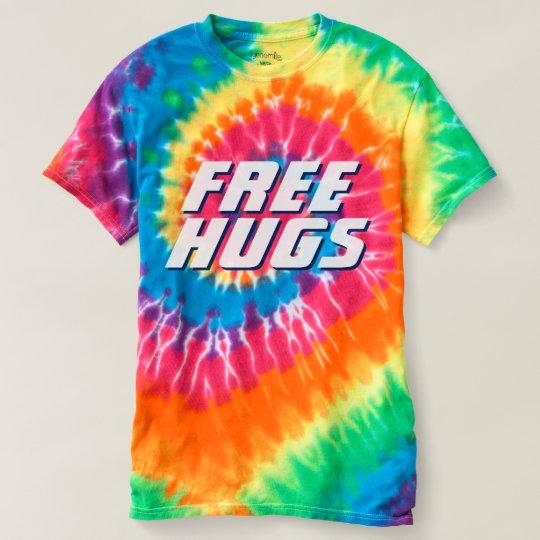 Colourful Free Hugs Cool Tie-Dye T-Shirt