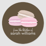 Colourful French Macarons Round Stickers