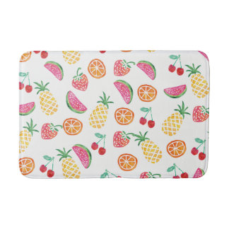 Colourful fruity watercolor bath mat